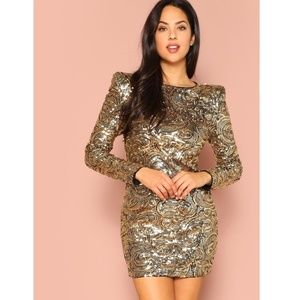 Gold Sequin Exaggerated Shoulder Mini Party Dress